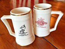 1973 FDNY Brentwood NEW YORK Award PAIR Beer Steins STATE CHAMPS w Charlie Brown