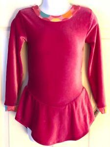 GK ICE SKATE Lg SLV GIRL X-SMALL PINK CIRCUS FOIL PRINT TRIM VELVET DRESS Sz CXS