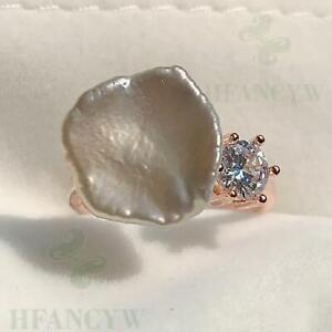 White Baroque Pearl Open Adjustable Rose Gold Zircon Ring Teardrop Natural Women