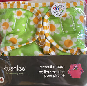 Swimsuit Diaper, Lime Free & Daisies. Large 25-40lbs. (11-18kg). By Kushies