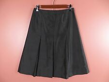 SK06635- TALBOTS Woman 100% Silk Pleated A-Line Skirt Ink Black Sz 8P