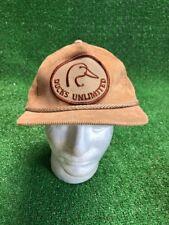 Rare NEWVintage DUCKS UNLIMITED Tan Corduroy Trucker Hat Cap Adj Snapback 5bf88a5d5acf