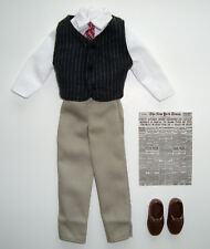 KEN Clothes/Fashion White Shirt With Pants, Vest, New York Times Newspaper NEW!