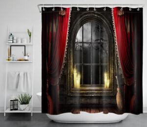 "Halloween Haunted Ancient Castle Window Waterproof Fabric Shower Curtain Set 72"""