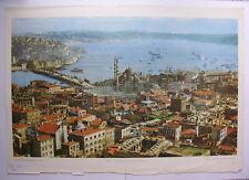 old Poster Istanbul Golden Horn Hagia Sophia Turkey Bosphorus 92x64~1960 vintage