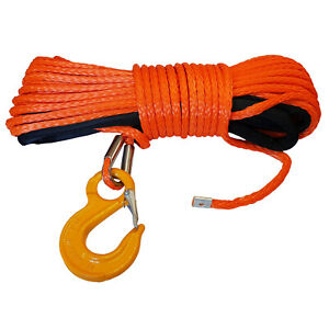 SYNTHETIC WINCH ROPES with SAFETY HOOK - 10mm x 15 metre offroad recovery 4 x 4