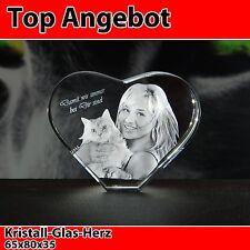 Herz Glas 3D Laser Foto Gravur Geschenkidee in 3D Valentinstag NEU Hund Hochzeit
