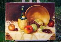 altes Ölgemälde Stillleben Weinflasche mit Obst signierte Künstlerarbeit