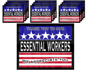 """Essential Workers Thank You Stickers Favor Gift Bag Label 3.75"""" x 4.75""""  -12 pcs"""