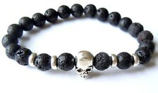 Chakra Lava Stone Bracelet - Silver Skull Natural Stone Gothic Charm Bangle