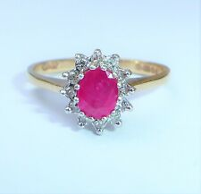 9ct Gold Ruby & Diamond Cluster Ring, Size M