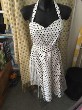 Dolly & Dotty 22 Rockabilly halterneck SunDress White & Black Spot 50s Style