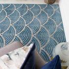 Teal Blue Indoor Outdoor Rugs Flatweave Lustre Velvet Textured Patio Garden Mats