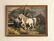 Im Stalle Ölmalerei auf Karton nach Juliusz Fortunat Kossak