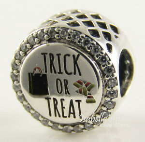 TRICK OR TREAT Candy Bag PANDORA Silver/Orange Enamel HALLOWEEN Charm/Bead NEW