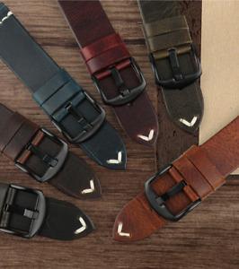 PREMIUM 24MM Genuine Waxed Leather Strap for Panerai, Rolex, Seiko