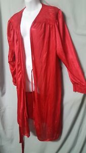"""Amoureuse RED ROBE KNEE LONG SLEEVE SEXY W/LACE NYLON   SIZE 1X  56"""" BUST"""