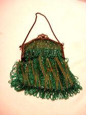 Twenties Herringbone Pattern Beaded Swing Hand Bag Purse Metal Clasp Top Frame