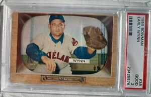 1955 Bowman Early Wynn #38 Cleveland Indians HOF Baseball Card PSA 2 Good