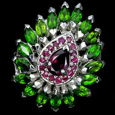 GORGEOUS! NATURAL PINK RHODOLITE,GREEN CHROME DIOPSIDE,RUBY 925 SILVER RING Sz 8