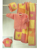 baby cardigan hat and blanket dk knitting pattern 99p