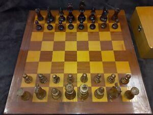 "Vintage Lardy Staunton Chess Set Glass Eye Knights Olive & Pallisander Wood 3 ""K"