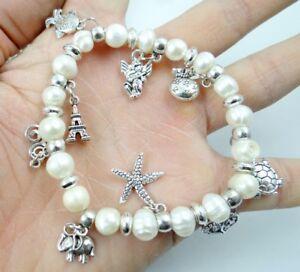 Women white freshwater pearl bead Small anim Elastic bracelet Fashion Jewelry A9