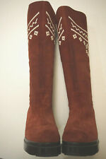Robert Clergerie cherry red suede boots womens sz 6 embroidered knee high Haute