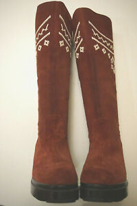 Robert Clergerie cherry red suede boots womens sz 4 French sexy designer