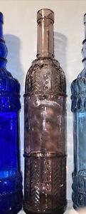 "CRYSTAL GLASS DECORATIVE BOTTLE PURPLE MAUVE 13"" No chips or cracks"