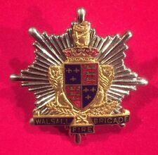 RARE WALSALL FIRE BRIGADE CAP BADGE - PRE 1974 - ENAMEL CROWN - 100% ORIGINAL!!!