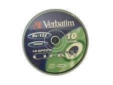 10x Verbatim ReWrite CD-RW 80Min 700MB 12x - Spindel Wiederbeschreibare Rohlinge