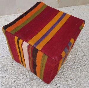 Turkish Vintage Floor Pouf Ottoman Handmade Pouf  Cover Footstool 16''x16''x16''