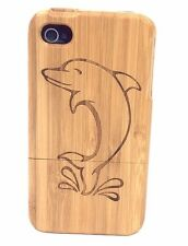 iPhone 4/4s Bamboo Wood Case ( Dolphin Engraving ) 100% Genuine Wood Cover✔️