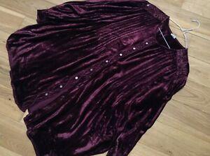 Vintage Rayon Velvet Ladies Plus Size Burgundy Red Long Sleeve Blouse Size 22