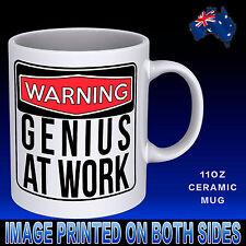 WARNING Genius At Work Coffee Mug Funny Gift Idea Mother Novelty Office Birthday