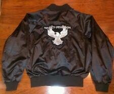 Harley Davidson Motorcycle Satin Silky Bomber Jacket Mens / Womens Medium Black