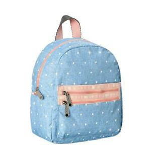 LeSportsac Classic Collection Small Double Zip Backpack in Denim Dot NWT