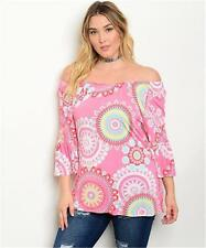 NEW..Gorgeous Stylish Plus Size Off the Shouder Boho Print Tunic Top..SZ14-16/1X