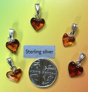 BALTIC AMBER HEART PENDANT/CHARM WITH STERLING SILVER BAIL