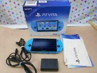 SONY PlayStation PS Vita Console Aqua Blue PCH-2000 ZA23 Japan Great Condition