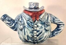 Cowboy Denim Western Shirt/ Cowboy Hat Tea Pot Stand 5 1/2in Tall Pre-Owned