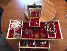 Antique Vintage Junk Drawer Jewelry Lot Estate Sale Find & Jewlry box With Key
