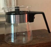 Vintage Pyrex Clear Small Glass Hot Or Cold Pitcher Kettle With Black Top