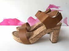 1c5a140a456 Mr   Mare Sandals 41 Tan PU Leather Pleather Cork Wedges Mules Heels