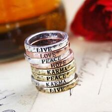 Set of 8Pcs Vintage HOPE,LOVE,LUCK,PEACE,Free,Belief,Wisdom,Courage Letter Rings