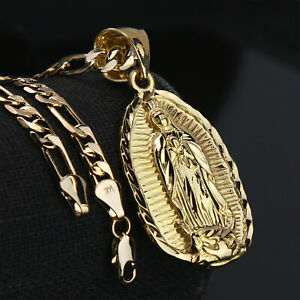 """Guadalupe Width 14k Gold PT Charm Pendant 5mm 24"""" Figaro Necklace Choker Chain"""