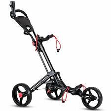 Foldable 3 Wheel Golf Pull Push Cart Trolley w/ Umbrella Scorecard Drink Holder