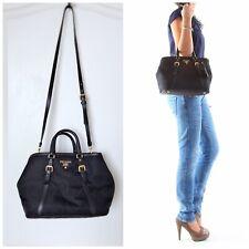 PRADA Authentic Crossbody Bag Tote Shoulder Handbag Shopper Nylon Leather Black