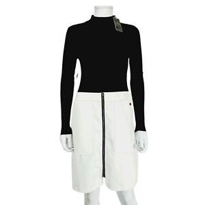 NEW Lipsy Black White Long Sleeve Dress UK 12 Pockets Mock Neck Colour Block